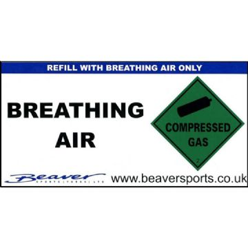 Scuba Divers Cylinder Sticker - Breathing Air Cylinder Sticker